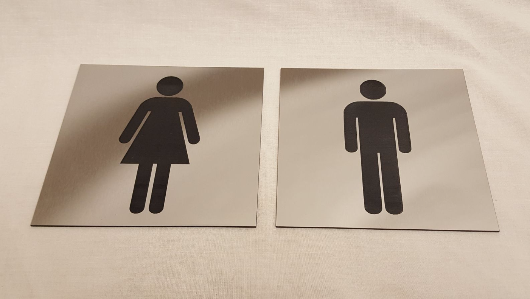 Brushed Steel Acrylic Toilet Door Signs Male And Female