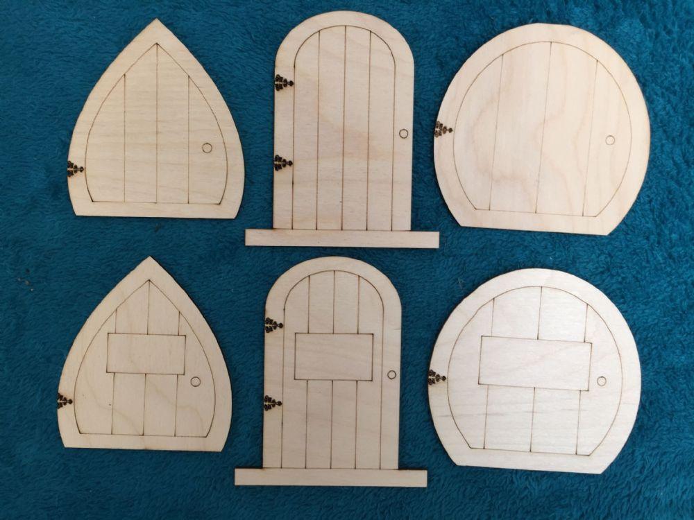 Laser cut wooden fairy elf hobbit doors 6 kinds assorted for Make fairy door craft