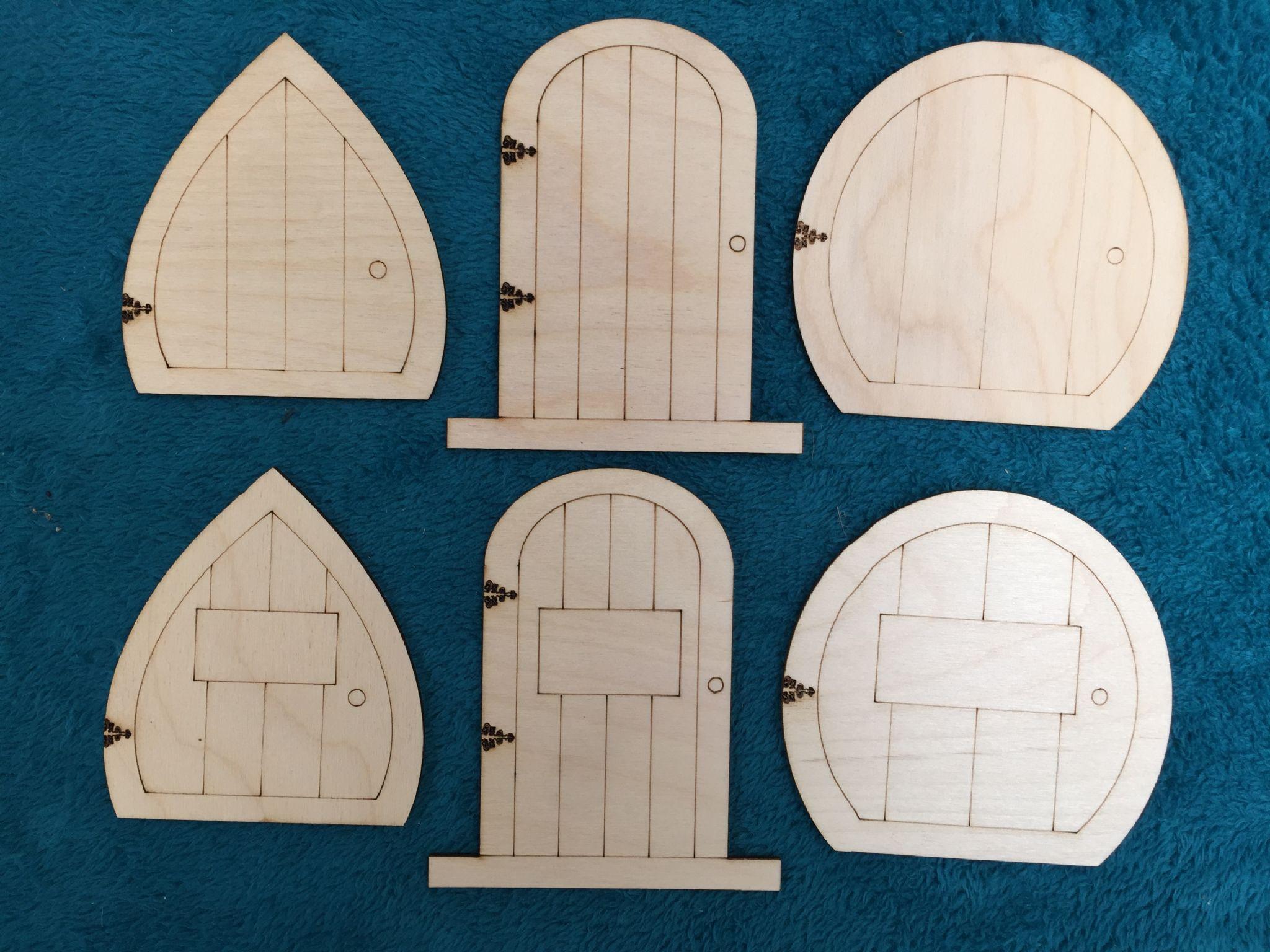 Laser cut wooden fairy elf hobbit doors 6 kinds assorted for Fairy door pattern