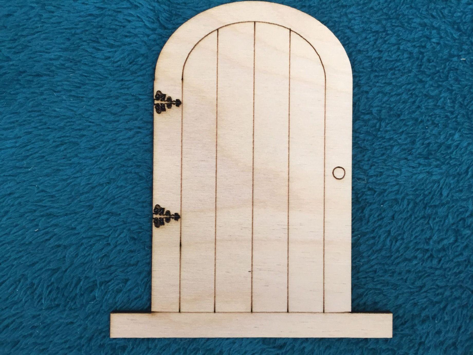 Laser cut wooden fairy elf hobbit doors pack of 10 for Wooden elf door