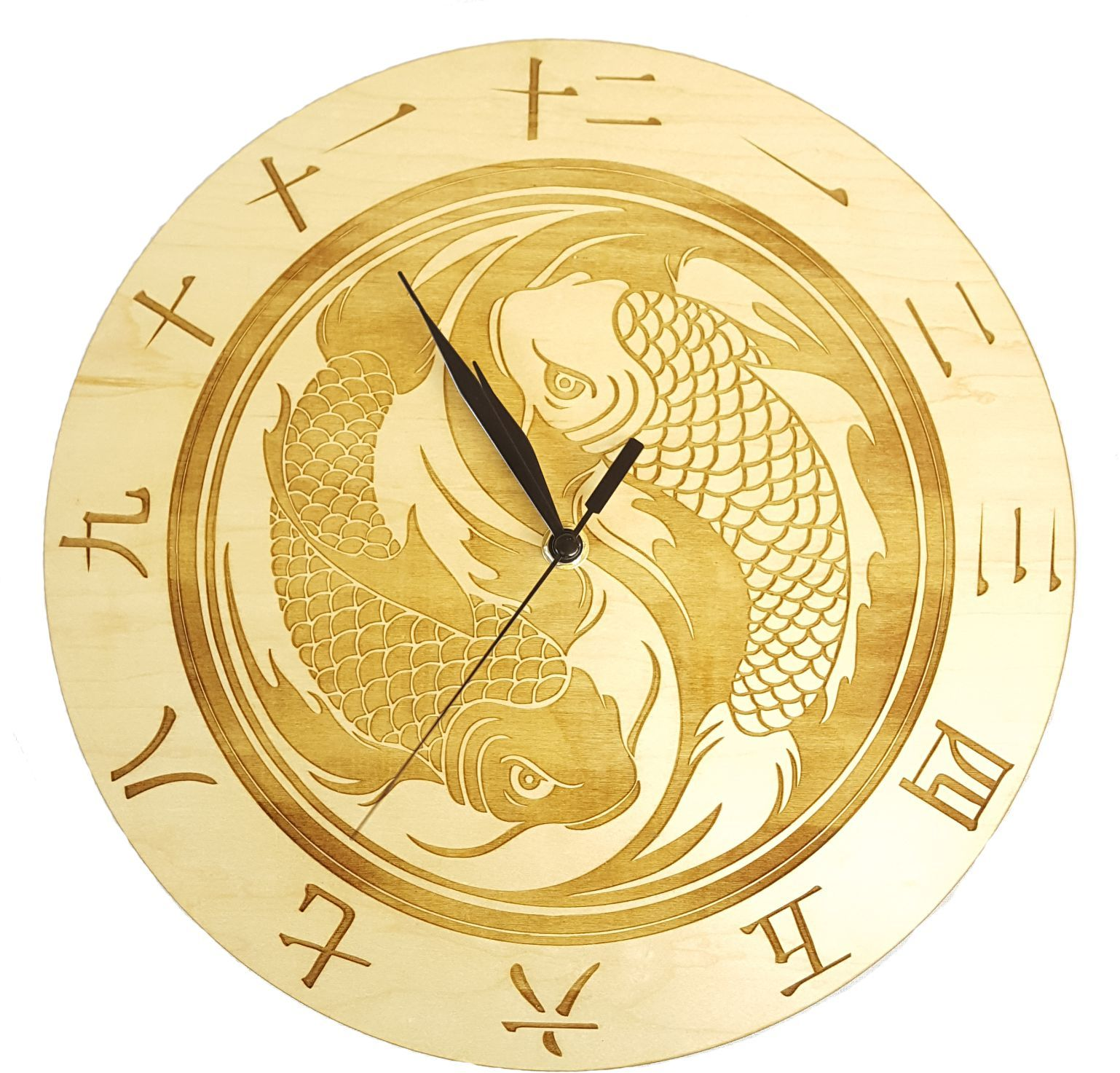 Two Fish Ying Yang Design Wall Clock Choice Of Two Wood