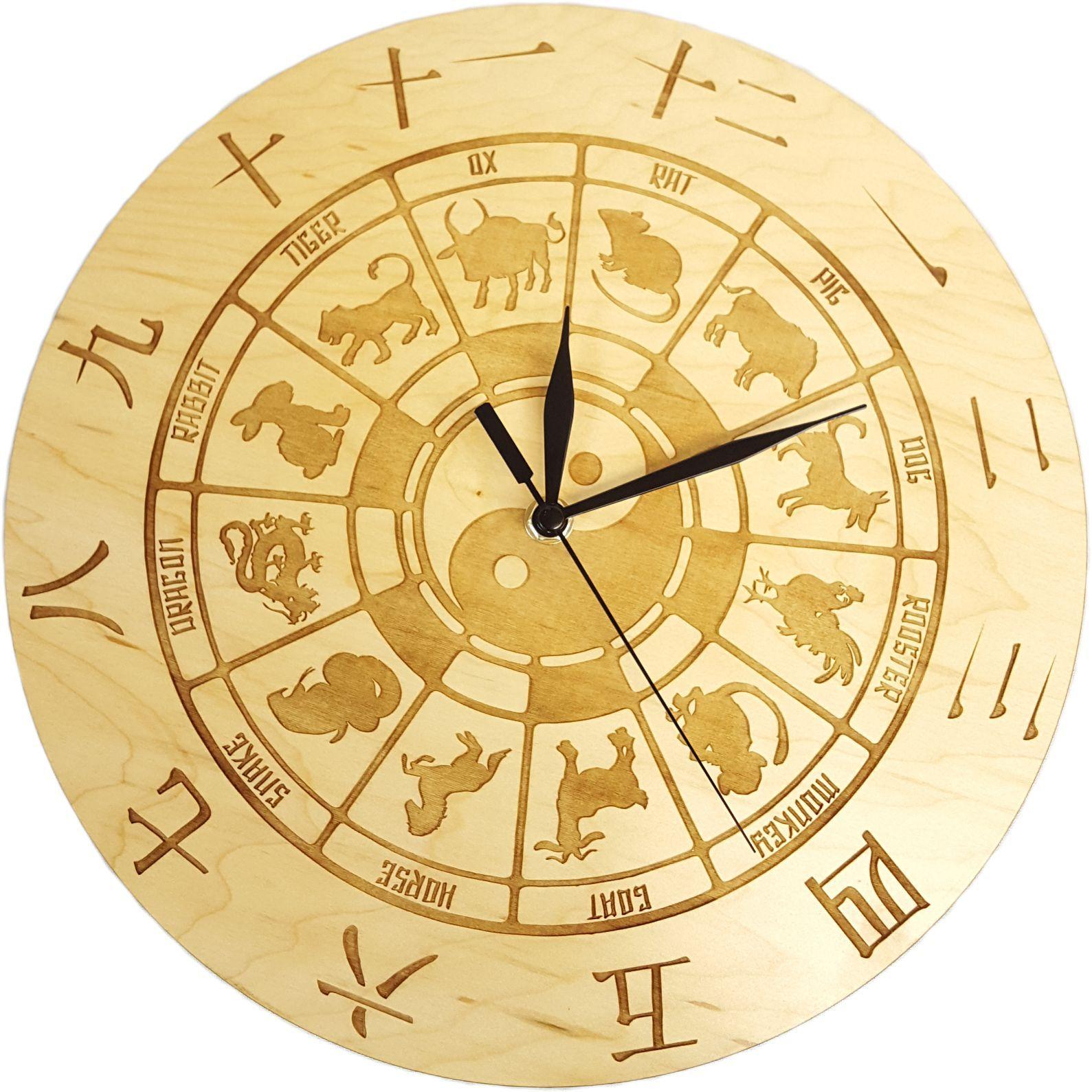 Wheel Of Chinese Zodiac Animals Ying Yang Wall Clock