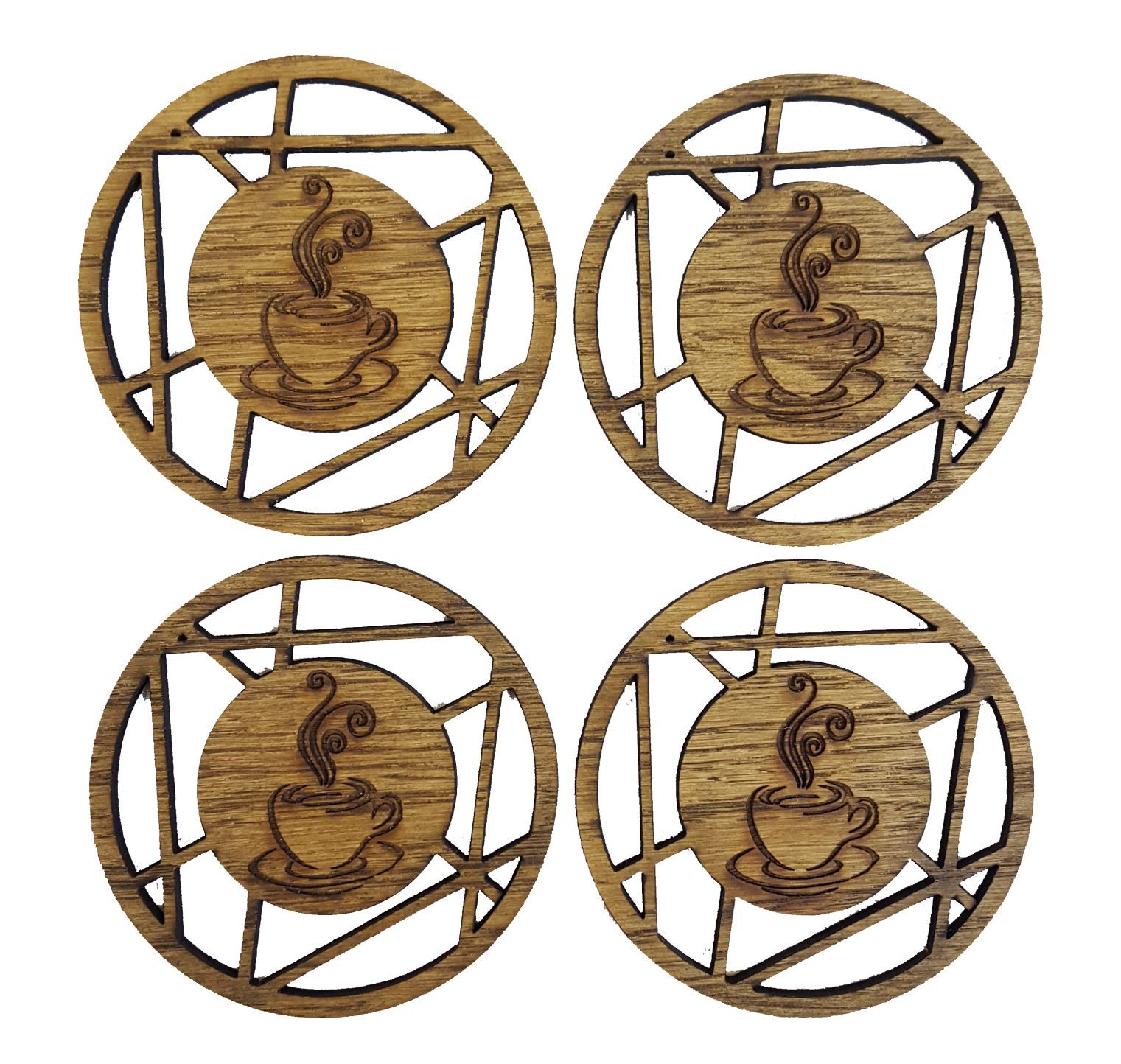 Artistic Design Coffee Cup Coasters Oak Veneer Pack Of 4