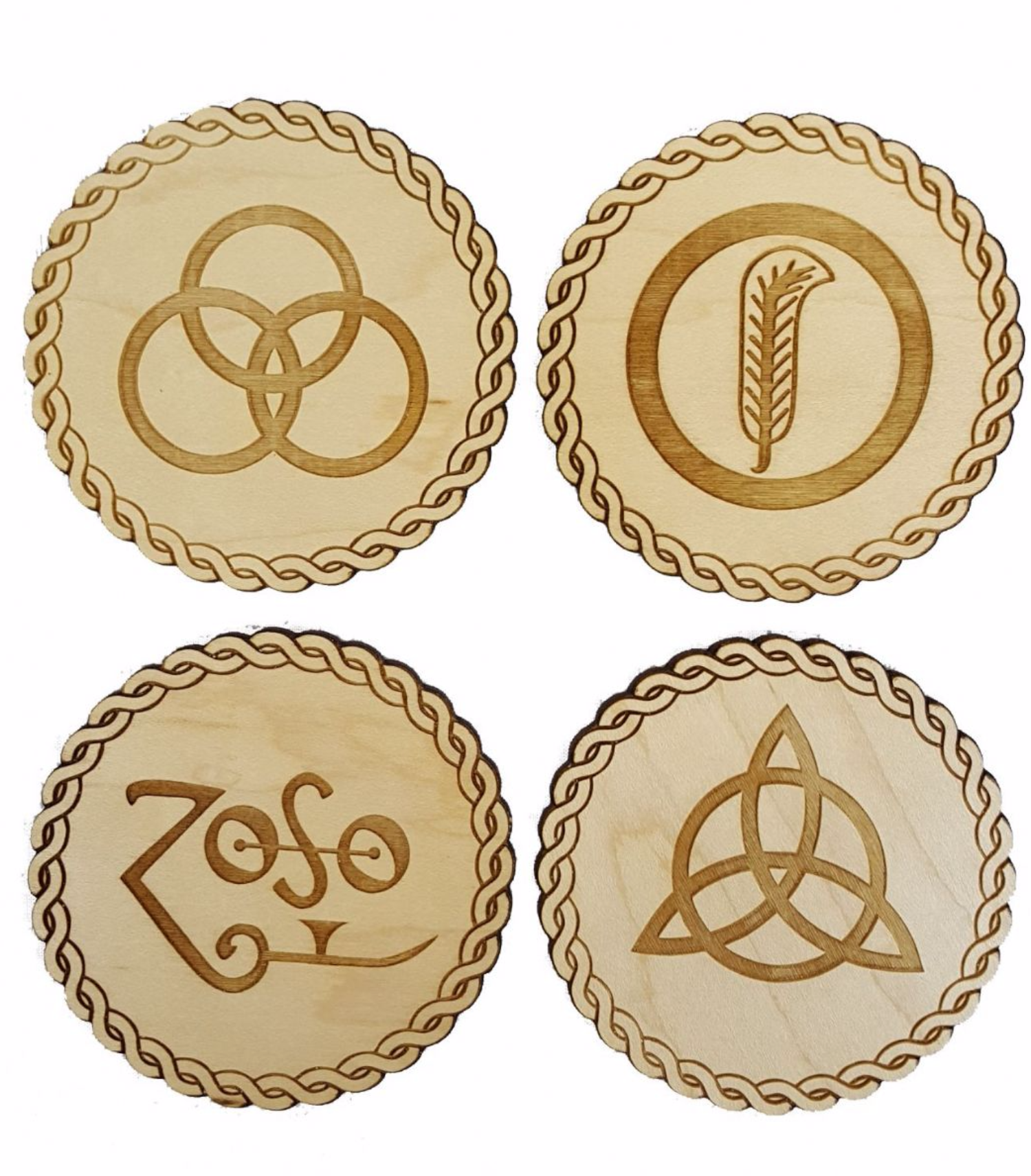 Led Zeppelin Inspired Wooden Zoso Symbol Coasters Pack Of 4 Choice