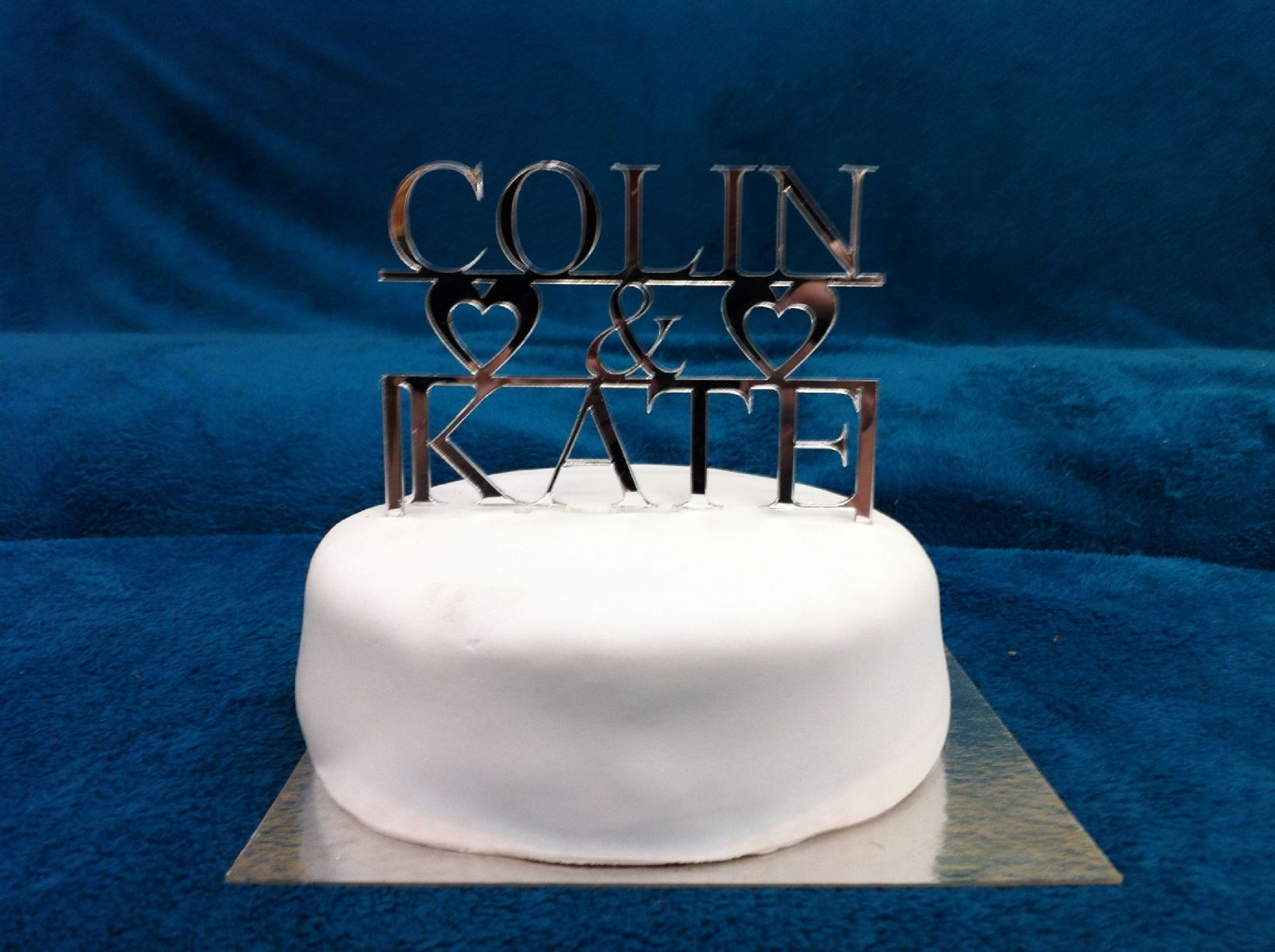 Personalised Couples First Name Wedding Cake Topper 14cm X 9 5cm